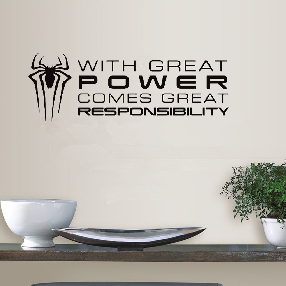 kiurgy Quotes Art Decals Vinyl Removable Wall Stickers With great power comes great responsibility