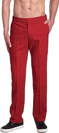 Amazon Com Concitor Brand Pantalones De Vestir De Algodon Para Hombre Color Rojo Solido Parte Delantera Plana Pantalones Para Hombre Clothing