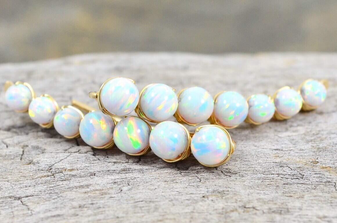 Opal gold wire ear climbers