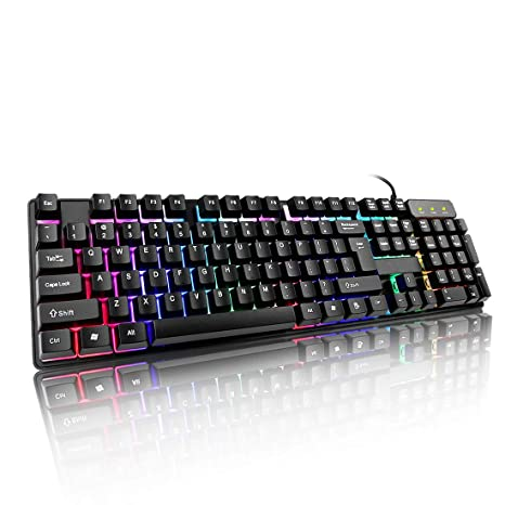 Attoe Gaming Keyboard,Wired Mechanical Feeling Backlit Gaming Keyboard with LED Rainbow Breathing Light -