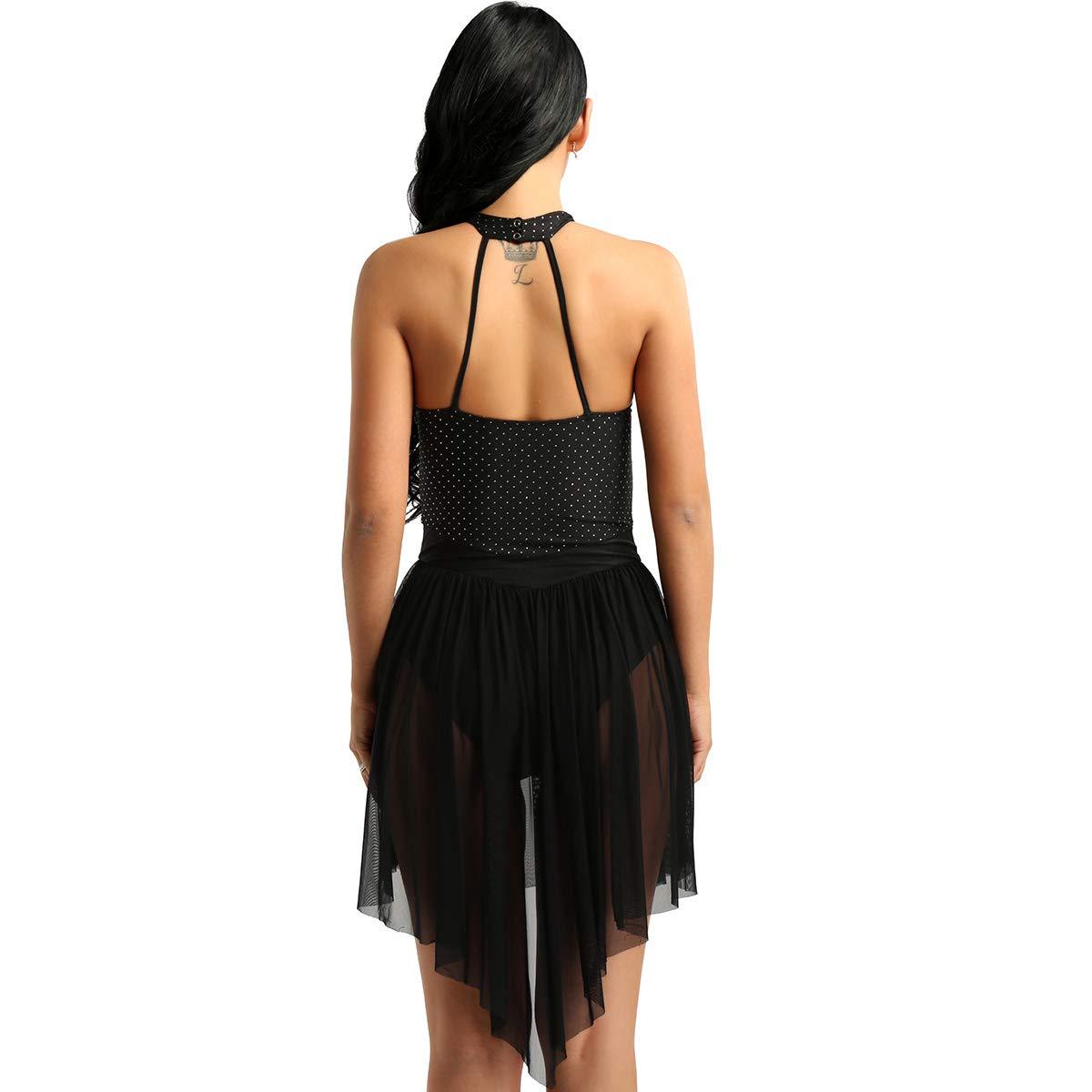 inhzoy Maillot Vestido de Ballet Danza Lunares Brillantes Vestido de Patinaje Art/ístico Cuello Halter Sin Respalda Bodysuit de Baile Cl/ásico para Mujer