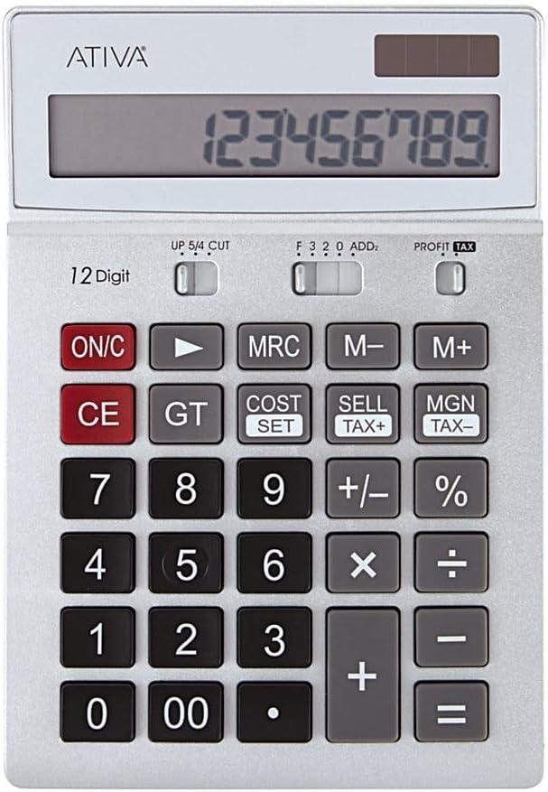 Ativa 12-Digit Desktop Tax Calculator