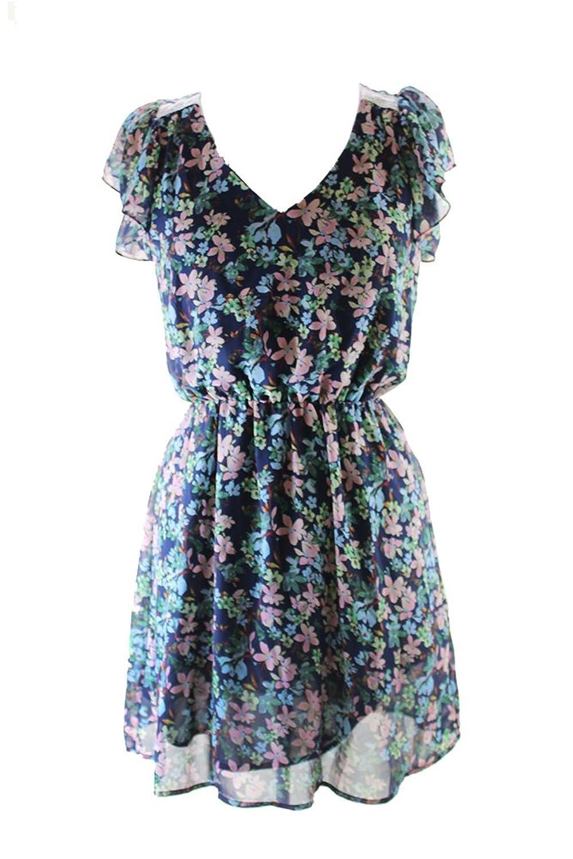 Maison Jules Blue Notte Combo Flutter Sleeve V-Neck Floral-Print Dress S