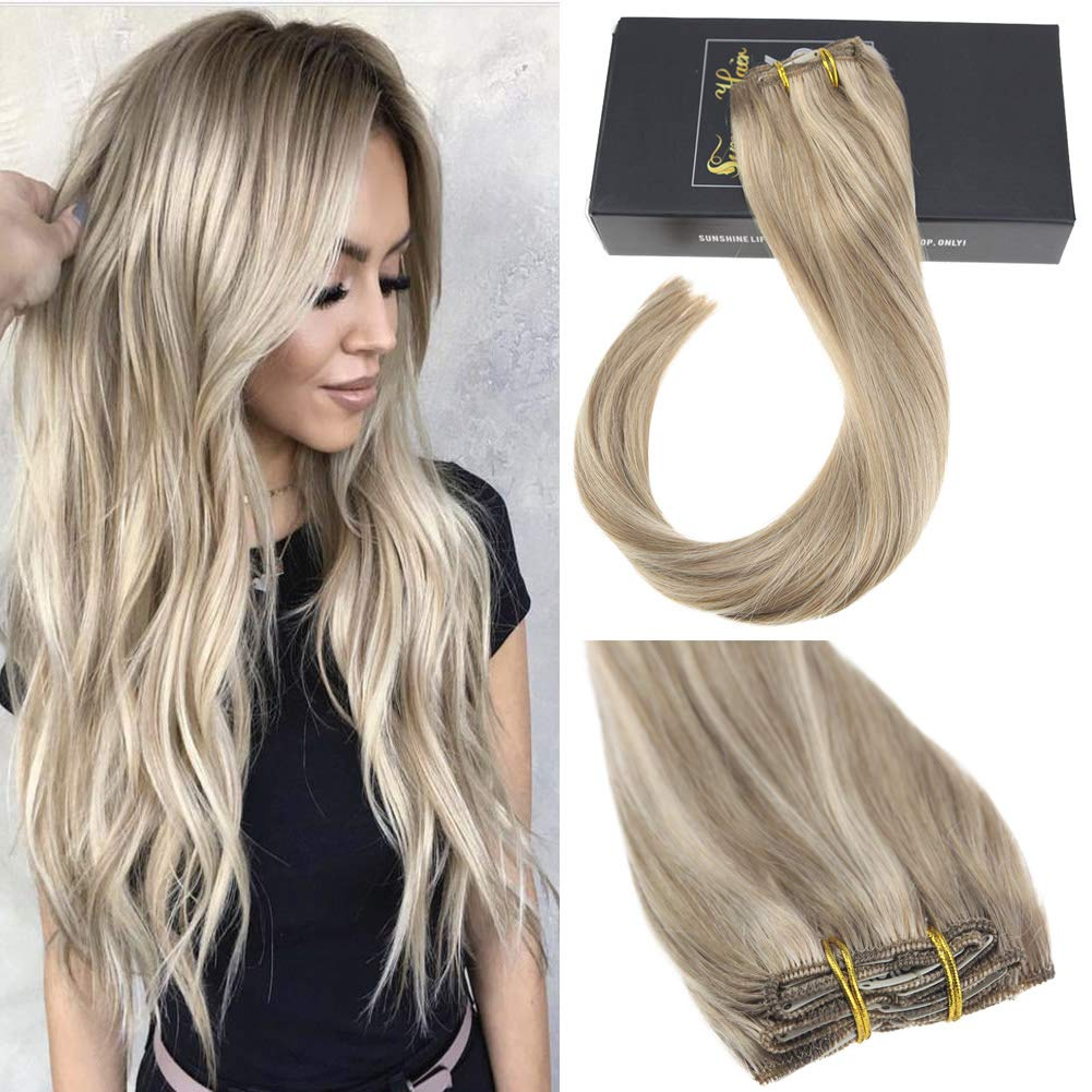 Sunny 16inch Clip In Hair Extensions Human Hair Dark Ash Blonde