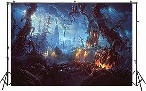 6.5x5ft Vinyl Halloween Horror Night Backdrop Ghost Tree Grimace Pumpkin Lamps Photography Background Children Photo Portrait Shoot W-4113