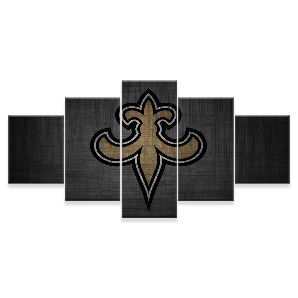 PEACOCK JEWELS [LARGE] Premium Quality Canvas Printed Wall Art Poster 5 Pieces/5 Pannel Wall Decor New Orleans Saints Painting, Home Decor Pictures - Stretched