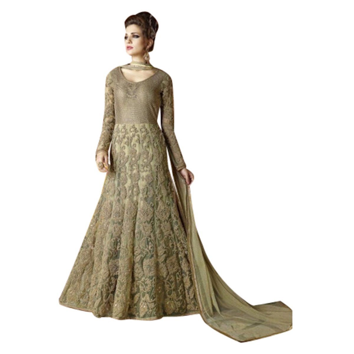 Vestito da cerimonia nuziale nuziale di Anarkali del vestito da partito del progettista sexy da part...