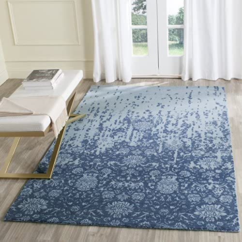 Safavieh Restoration Vintage Collection RVT104E Handmade Blue and Dark Blue Wool Area Rug 8 x 10