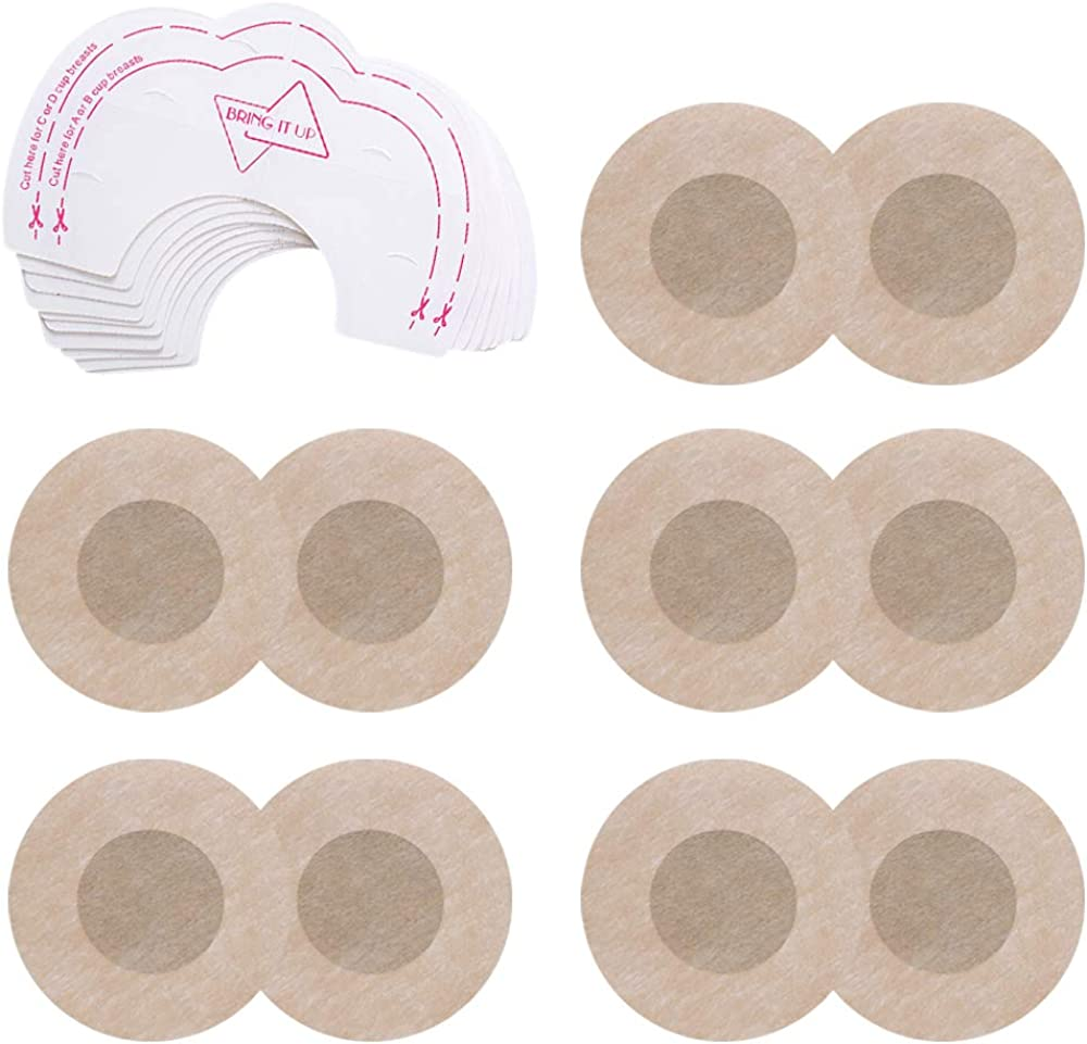 Invisible Breast Petals Disposable Adhesive Concealer Breast Pasties Stickers for Women BOZEVON 10 Pair Breast Lift Tape and Nipple Covers
