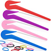 Elastic Hair Bands Remover, TsMADDTs 4pcs Pony Pick For Cutting Pony Rubber Hair Ties Pain Free Ponytail Remover Tool 50pcs Colored Rubber Hair Ties