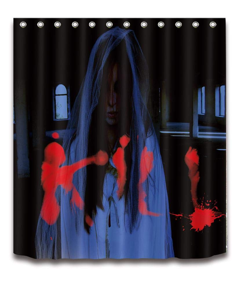 LB Halloween Duschvorhang, Vollmond, Fliegende Fledermaus, Gotik Architektur Polyester Gewebe Wasserdichter Badezimmer Dekor Duschvorhang Stellte mit 12 Haken, 150cmx180cm Ein JinShiZhuan