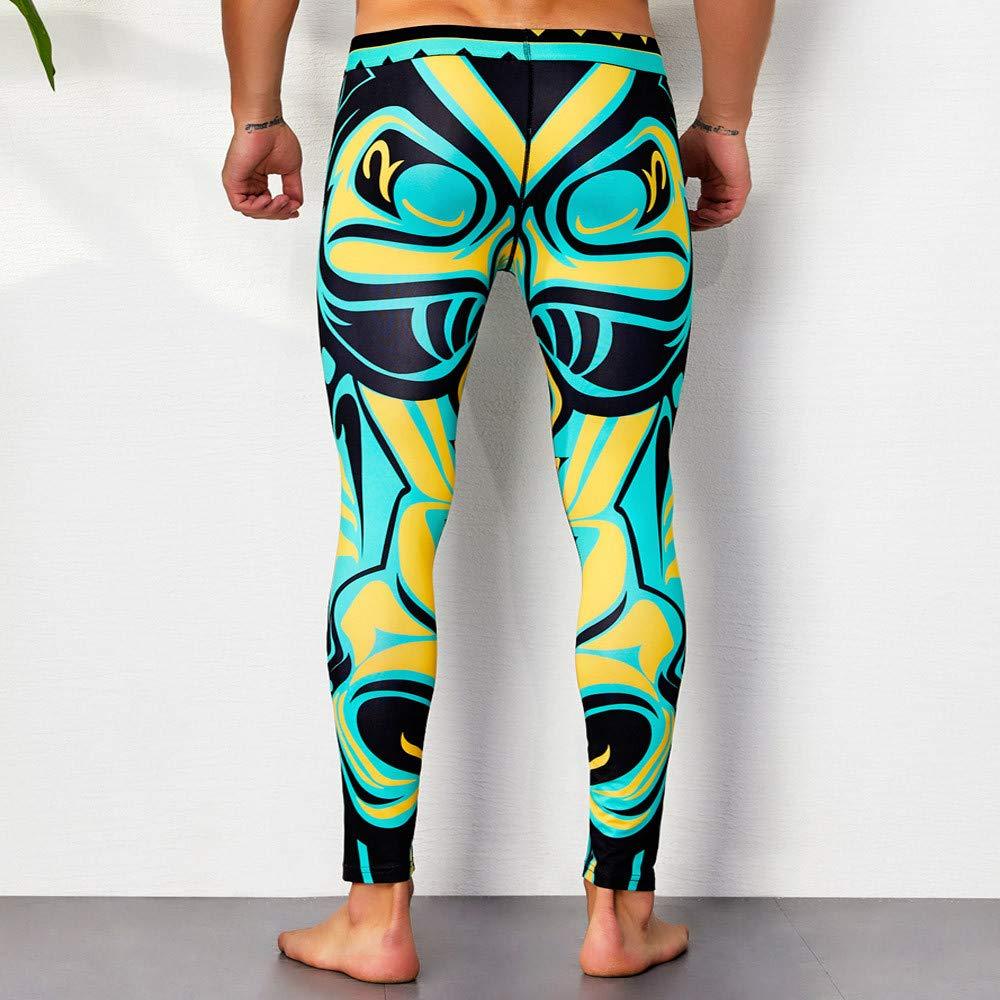 Long Johns Mens Print Cotton Breathable Sports Leggings Thermal Long Johns Underwear Pants