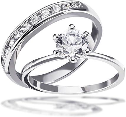 Goldmaid Damen Ring 2 in 1 mit Vorsteckring 925 Sterlingsilber 12 weiße Zirkonia
