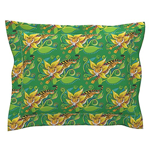 Roostery Tiger Euro Flanged Pillow Sham Leaping Lily Tigerlily by Beesocks Natural Cotton Sateen made by