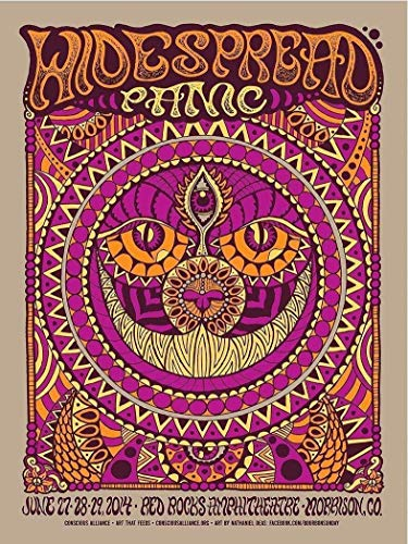 United Mart Poster Rare Poster Red Rocks Widespread Panic Music 2014 Vintage Reprint Poster Size 12 x 18 Inch Rolled Poster