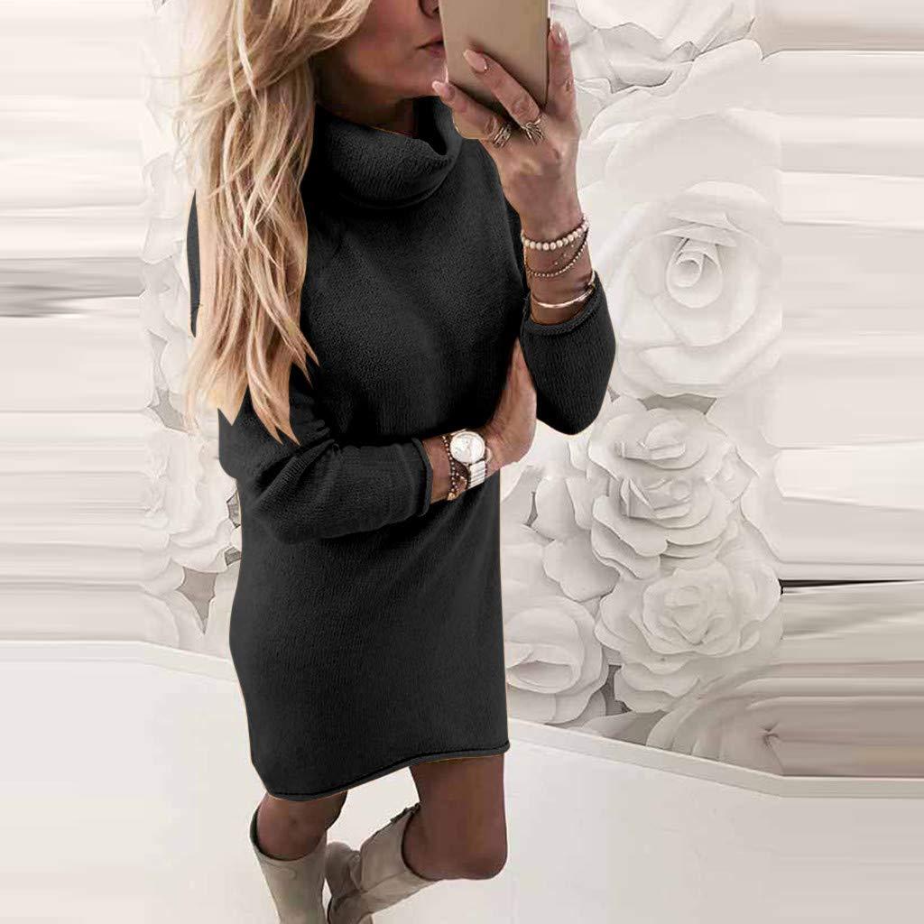 S, Blau Sannysis Pulloverkleid Damen Rollkragen Strickkleid Einfarbig Pullover Kleid Casual Lose Herbst Langarm Longpullover Winterkleid Curved Rock Bluse Elegante Oberteile Kleider