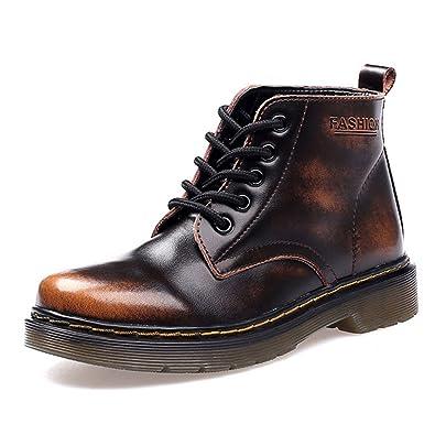 d748b76e7d89 SITAILE Damen Herren Stiefeletten Leder Boots Kurzschaft Winterstiefel  Winter Schuh Warme Gefütterte Outdoor Knöchel Stiefel,