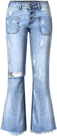 Amazon Com Wincolor Pantalones Vaqueros Sueltos Para Mujer De Talle Bajo Con Agujeros Desgarrados Clothing