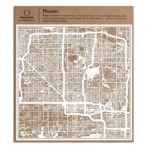 Phoenix Paper Cut Map by O3 Design Studio White 12×12 inches Paper (Party City In Phoenix)