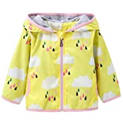 Kids Baby Girls Rain Cloud Print Windproof Hooded Coats Sunscreen Cloak Zipper Jackets Size 6-12Months/Tag73 (Yellow)