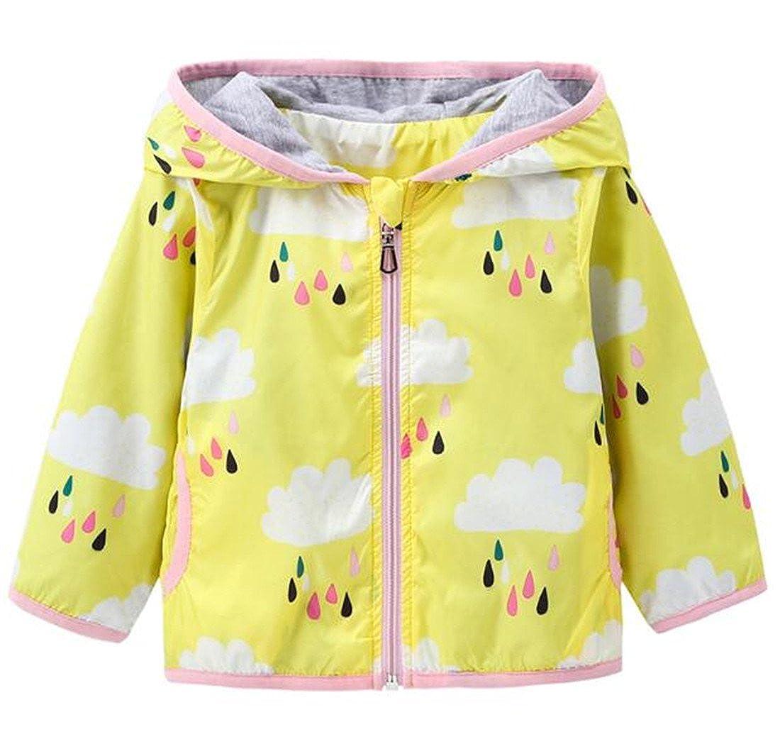 Kids Baby Girls Rain Cloud Print Windproof Hooded Coats Lightweight Active Outdoor Jackets BANGELY Z1922