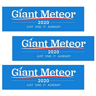 Artisan Owl Giant Meteor 2020 Just End it Already - Funny Auto Car Politics 3x10 Bumper Stickers (3 Stickers): Automotive