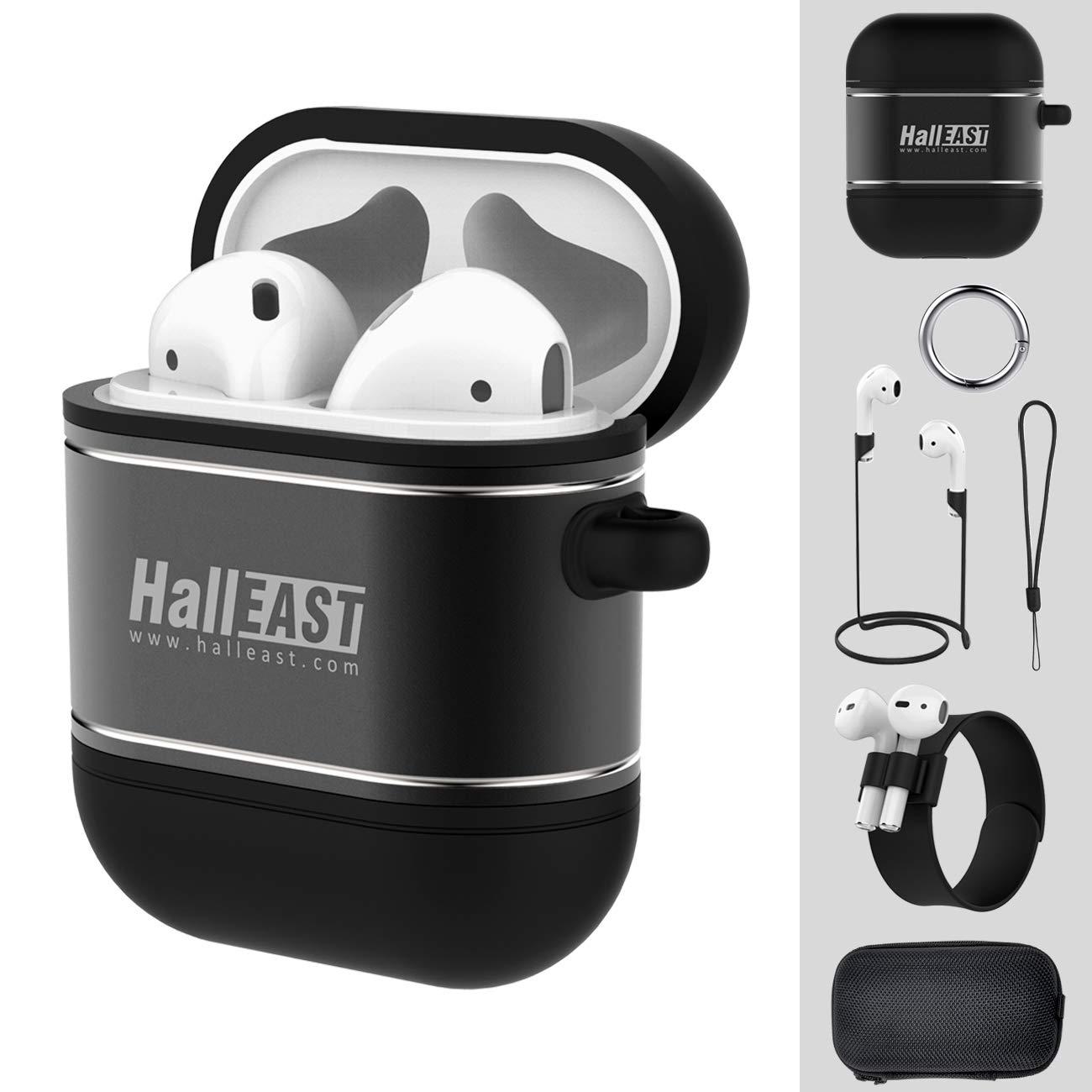 HALLEAST AirPodsケース 6イン1 AirPodsアクセサリーキット 保護カバー スキンホルダー シリコンメタル Apple Airpod用充電ケース キーチェーン/ストラップ/スラップブレスレット/ハードケース/ブラック B07PWLZMTP