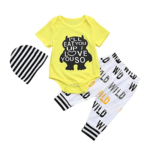 1afa10390 SMALLE Clearance Newborn Baby Boys Clothes Letter Printed Romper+ Casual  Pants+Hat Outfits Set 3Pcs