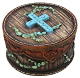 Rustic Faux Turquoise Cross, Tooled Leather and Barn Wood Look Trinket Box