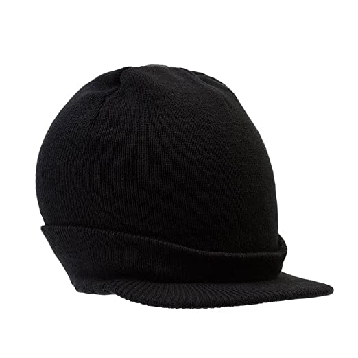 Amazon.com  District Threads Beanie Hat with Bill Knit Cap - Black ... c513282f4e3