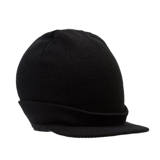 Amazon.com  District Threads Beanie Hat with Bill Knit Cap - Black ... ba6adb3a50c9