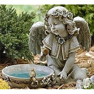 Joseph Studio 62852 Tall Angel Sitting By Solar Bird Bath Statue