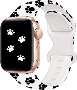 XVGJDZ Floral Band Compatible with Watch Strap 42mm 44mm 40mm 38mm,Soft Silicone Band Fadeless Pattern Printed Wristband Replacement for Watch Series 6/5/4/3/2/1/SE (38mm/40mm-S/M, Paw Print)