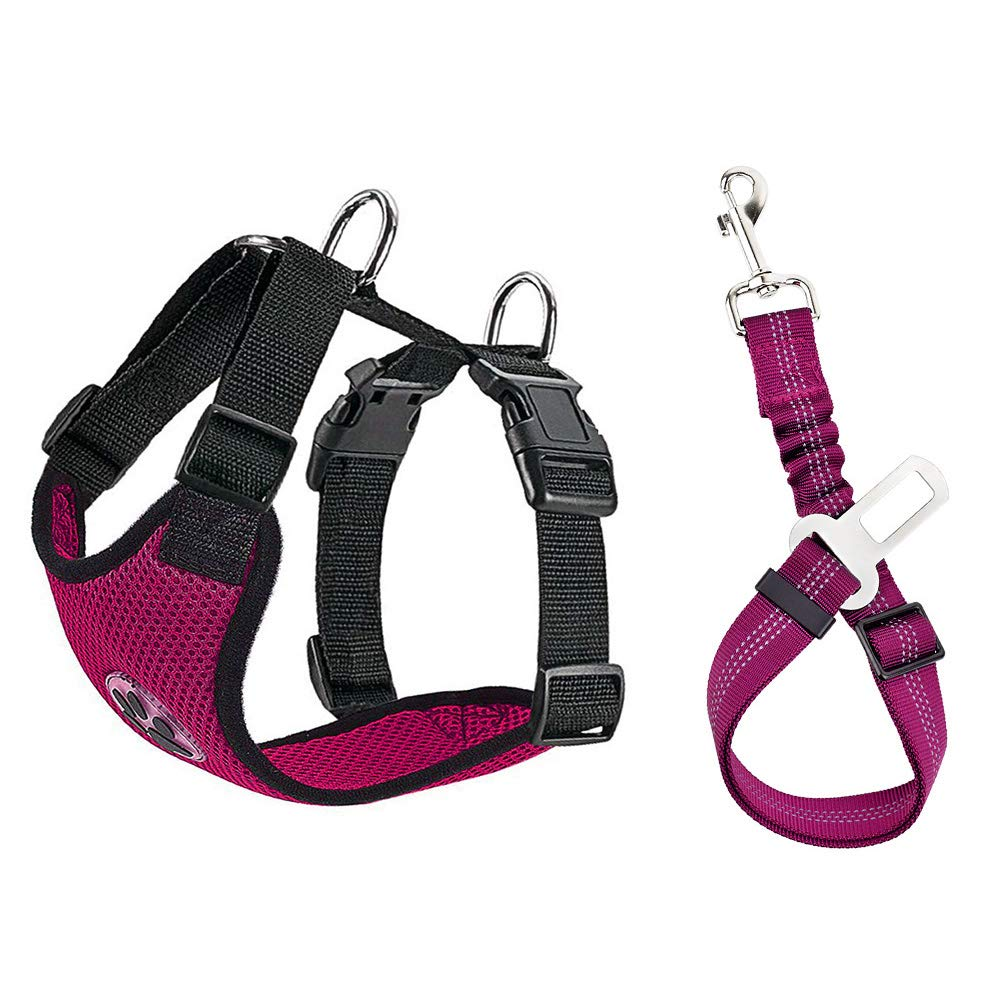 SlowTon Dog Car Harness Plus Connector Strap, Multifunction Adjustable Vest Harness Double Breathable Mesh Fabric with Car Vehicle Safety Seat Belt (Medium, Fuchsia)