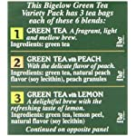 Bigelow 6 assorted green tea bags, 18-count box (pack of 6), caffeinated green tea, 108 tea bags total 9 healthy antioxidants: enjoy the health benefits of green tea with this delightful variety pack, containing: classic green tea, green tea with peach, green tea with lemon, green tea with mint, decaffeinated green tea, and green tea with pomegranate. Individually wrapped: bigelow tea always come individually wrapped in foil pouches for peak flavor, freshness, and aroma to enjoy everywhere you go! Gluten -free, calorie-free, & kosher certified; bigelow tea delivers on all the health benefits of tea. Try every flavor: there's a bigelow tea for every mood and every time of day. Rise and shine with english breakfast, smooth out the day with vanilla chai, get an antioxidant boost from green tea, or relax & restore with one of our variety of herbal teas.