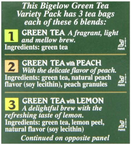Bigelow 6 assorted green tea bags, 18-count box (pack of 6), caffeinated green tea, 108 tea bags total 2 healthy antioxidants: enjoy the health benefits of green tea with this delightful variety pack, containing: classic green tea, green tea with peach, green tea with lemon, green tea with mint, decaffeinated green tea, and green tea with pomegranate. Individually wrapped: bigelow tea always come individually wrapped in foil pouches for peak flavor, freshness, and aroma to enjoy everywhere you go! Gluten -free, calorie-free, & kosher certified; bigelow tea delivers on all the health benefits of tea. Try every flavor: there's a bigelow tea for every mood and every time of day. Rise and shine with english breakfast, smooth out the day with vanilla chai, get an antioxidant boost from green tea, or relax & restore with one of our variety of herbal teas.