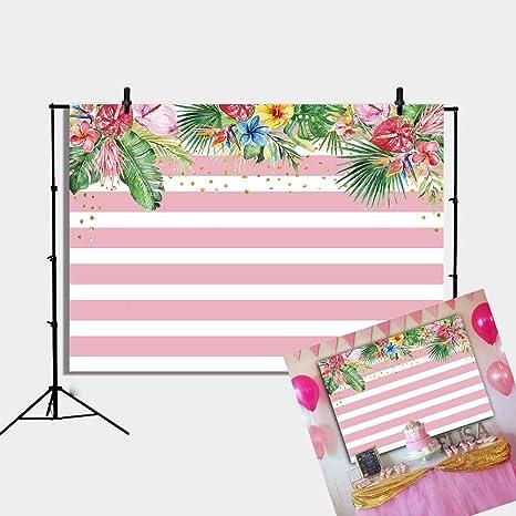 Daniu Pink Stripes Flores Fiesta Telón de Fondo Tropical Hoja de ...