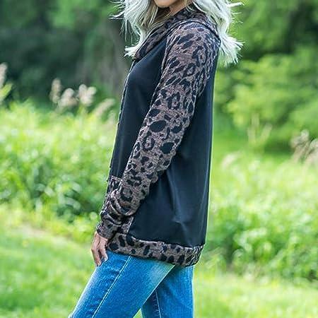 Amazon.com: Gocheaper Blouse Women Long Sleeve Leopard Print Drawstring Hoodie with Pocket Sweatshirt Pullover (Black, M)