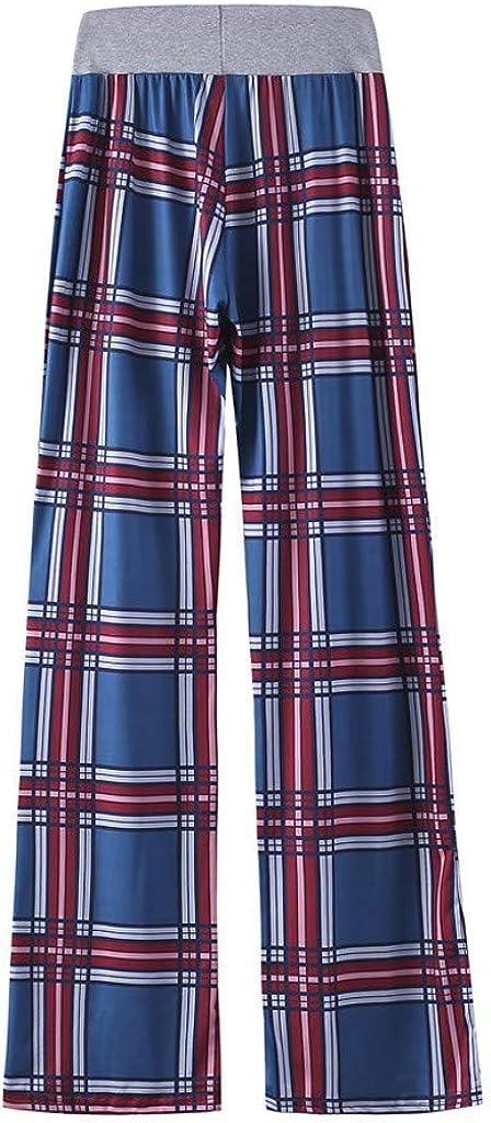 Womens Floral Print Palazzo Pants Drawstring High Waist Long Wide Leg Pants Yoga Trousers Comfy Casual Pajama Pants