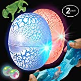 ChefSlime Dinosaur Surprise Egg Slime Dino World Putty - Pack of 2 Non Sticky, Stress Relief, Super Soft & Stretchy Sludge Toy with Flashing LED Lights Party Favor for Kids and Adults