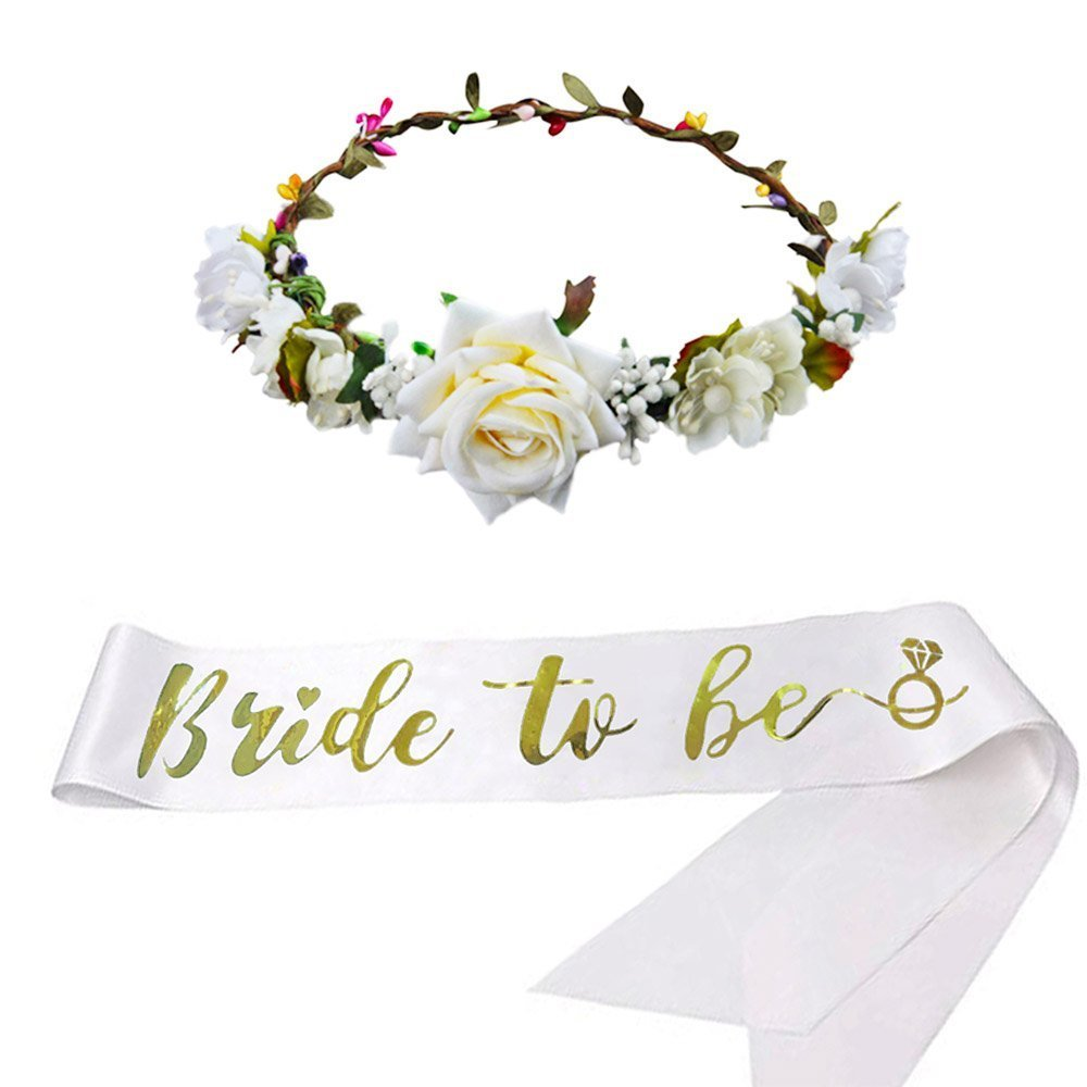 SEWEI Bride to Be Sash Headband Bachelorette Bride Tribe Bridal Shower Wedding Party favor Supplies (White 2)
