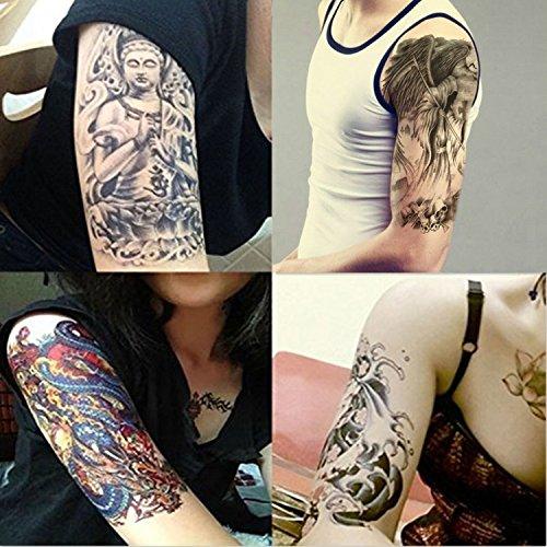 Dalin 4 Sheets Temporary Tattoos, Budda, Dragon, Koi Fish, Death ()
