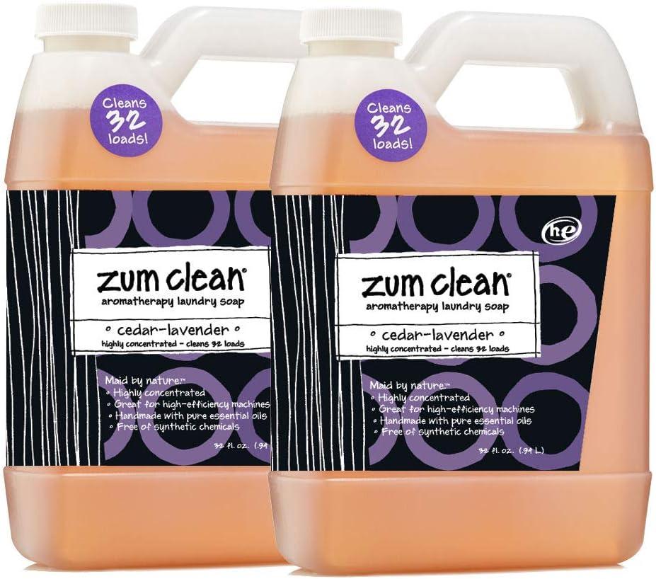 Indigo Wild Zum Clean Laundry Soap, Cedar-Lavender, 32 Fluid Ounce, Set of 2