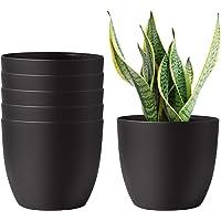 T4U 6 Inch Self Watering Planters Plastic Plant Pot, Modern Decorative Flower Pot/Window Box for All House Plants…