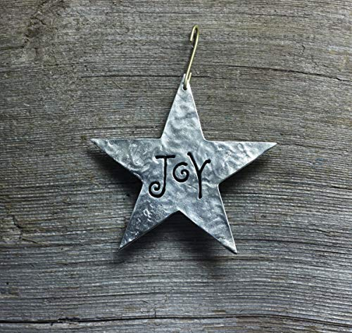 (Star Christmas ornament - Joy, word of Inspiration - made in silver pewter, 3-5/8 inches)
