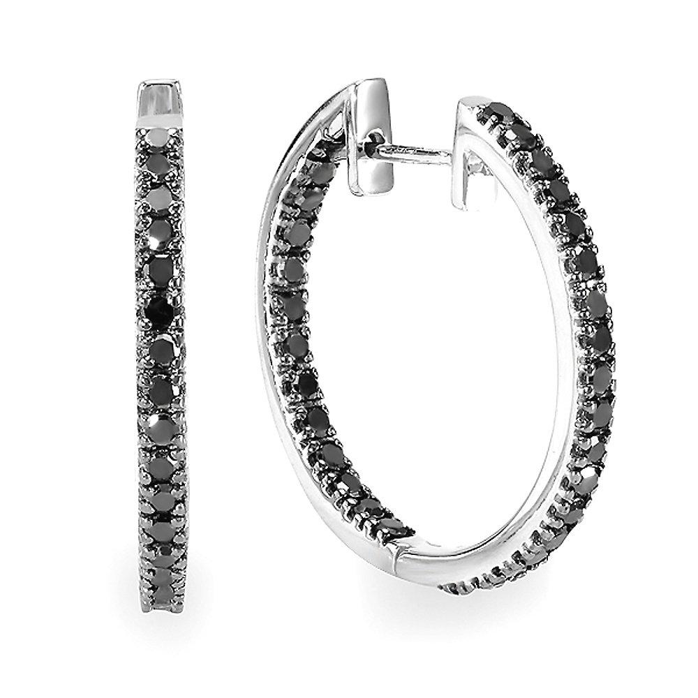 Dazzlingrock Collection 1.25 Carat (ctw) Black Round Diamond Ladies Hoop Earrings 1 1/4 CT, Sterling Silver