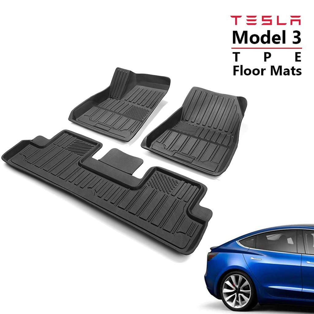 Hiyougen TPE Floor Mats Set for Tesla Model 3, All-Weather Guard Waterproof Non Slip Floor Mats Car TPE Fit Floor Front and Rear Interior Liner Mats Set (Black) by Hiyougen
