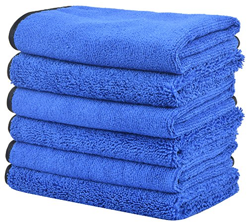 KinHwa Microfiber Auto Detailing Towels Dual Weave Car Cleaning Towels Ultra Soft Professional Car Wash Drying Towels Scratch Free 400gsm 16Inch x 16Inch 6 Pack Blue
