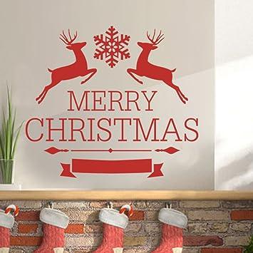 Amazoncom GECKOO Xmas Vinyl Merry Christmas Wall Art Deer Decal
