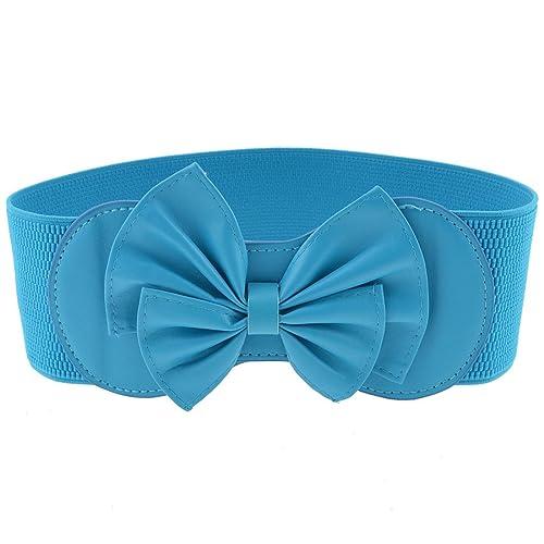 Señoras cielo Azul Bowknot Decoración Prensa Stud Botón Elástico Cintura Cinturón Cintura azul azul celeste Talla única